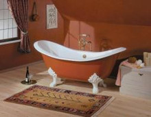"""Cheviot 2114w Regency 72"""" Cast Iron Freestanding Footed Tub With Lion Feet White - Choice Of 6 Feet Colors"""