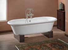 """Cheviot 2111-bb Regal 68"""" Cast Iron Freestanding Clawfoot Tub With Continuous Rolled Rim With Wooden Base Biscuit - Choice Of 3 Feet Colors"""