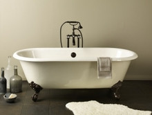 """Cheviot 2111w Regal 68"""" Cast Iron Freestanding Clawfoot Bath Tub With Continuous Rolled Rim White - Choice Of 6 Feet Colors"""