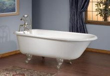 """Cheviot 2102w Traditional 68"""" Cast Iron Freestanding Clawfoot Tub With Faucet Holes On Tub Wall White - Choice Of 6 Feet Colors"""