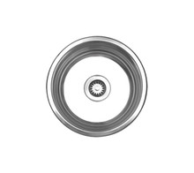 "Whitehaus WHNDB16 17 3/4"" Noah's Collection Large Round Drop-in Kitchen Sink - Brushed Stainless Steel"