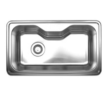 "Whitehaus WHNDA3016 33 1/2"" Noah's Collection Single Bowl Drop-in Kitchen Sink - Brushed Stainless Steel"