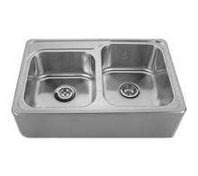 """Whitehaus WHNAP3322 33"""" Noah's Collection Double Bowl Drop-in Sink Apron Kitchen Sink With Seamless Front - Brushed Stainless Steel"""