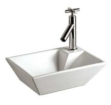 "Whitehaus WHKN1142 14 1/8"" Isabella Rectangular Wall Mount Sink & Right Offset Single Faucet Hole - White"