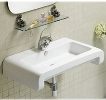 "Whitehaus WHKN1130 28"" Isabella Wall Mount  Bathroom Sink With Overflow, Single Faucet Hole & Rear Center Drain - White"