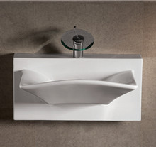 "Whitehaus WHKN1114A 27 7/8"" Isabella Rectangular Wall Mount  Bathroom Sink With Integrated Rectangular Bowl, Single Faucet Hole & Rear Center Drain - White"