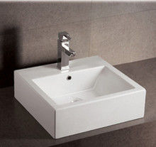 "Whitehaus WHKN1059 19 5/8"" Isabella Square Wall Mount Bathroom Sink With Overflow & Single Faucet Hole & Rear Center Drain - White"