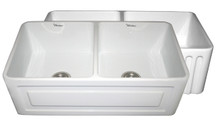 """Whitehaus WHFLRPL3318 33"""" Reversible Fireclay Apron Kitchen Sink With Raised Panel Front Apron On One Side & Fluted Front On Other - White"""