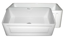 """Whitehaus WHFLRPL3018 30"""" Reversible Fireclay Apron Kitchen Sink With Raised Panel Front Apron On One Side & Fluted Front On Other - White"""