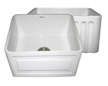 """Whitehaus WHFLRPL2018 20"""" Reversible Fireclay Apron Kitchen Sink With Raised Panel Front Apron On One Side & Fluted Front On Other - White"""