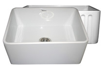 """Whitehaus WHFLPLN2418 24"""" Reversible Fireclay Apron Kitchen Sink With Smooth Front Apron One Side & Fluted Front Other Side - White"""
