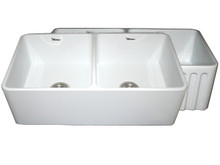 """Whitehaus WHFLPLN3318 33"""" Reversible Fireclay Apron Kitchen Sink With Smooth Front Apron One Side & Fluted Front Other Side - White"""