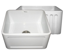 """Whitehaus WHFLCON2018 20"""" Reversible Fireclay Apron Kitchen Sink With Concave Front Apron One Side & Fluted Front Apron On Other - White"""