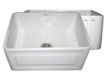 """Whitehaus WHFLCON2418 24"""" Reversible Fireclay Apron Kitchen Sink With Concave Front Apron One Side & Fluted Front Apron On Other - White"""