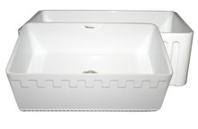 """Whitehaus WHFLATN3018 30"""" Reversible Fireclay Apron Kitchen Sink With An Athinahaus Front One Side & Fluted Front Front Other Side - White"""