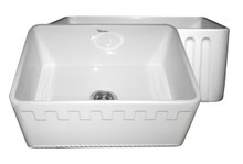 """Whitehaus WHFLATN2418 24"""" Reversible Fireclay Apron Kitchen Sink With Athinahaus Front One Side & Fluted Front Other Side- White"""
