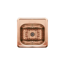 """Whitehaus WH692CBB 15"""" Square Drop-in Bar Prep Sink - Hammered Texture Bowl & Mirrored Ledge - Hammered Copper"""