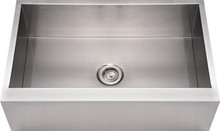 """Whitehaus WHNCMAP3321 33"""" Noah's Collection Commercial Single Bowl Front Apron Kitchen Sink - Brushed Stainless Steel"""