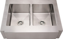 """Whitehaus WHNCMAP3621EQ 36"""" Noah's Collection Commercial Single Bowl Sink With A Decorative Notched Front Apron - Brushed Stainless Steel"""