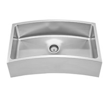 """Whitehaus WHNAPCV3218 Noah's Collection Chefhaus Single Bowl Apron Undermount Curved Front Sink 31 5/8"""" x 18"""" - Brushed Stainless Steel"""
