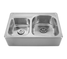 "Whitehaus WHNAPD3322 Noah's Collection Double Bowl Drop-in Apron Kitchen Sink With Seamless Front 33"" x 22"" - Brushed Stainless Steel"