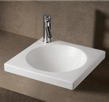 """Whitehaus WHKN4061 18"""" Isabella Drop In Bathroom Sink With Integrated Round Bowl - Single Faucet Hole - White"""
