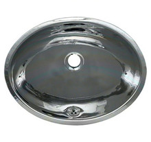 """Whitehaus WH608ABL 16"""" Smooth Oval Undermount Bathroom Sink With Overflow - Polished Stainless Steel"""