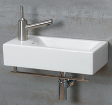 "Whitehaus WH1-114LTB 19 3/4"" Isabella Wall MountSink With Chrome Towel Bar & Center Drain - White"