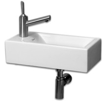 "Whitehaus WH1-114L 19 3/4"" Isabella Wall Mount Sink With Left Side Faucet Hole- White"