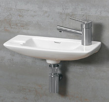 "Whitehaus WH1-103R 17 1/2"" Isabella Small Wall Mount Sink With Right Side Faucet Hole - White"