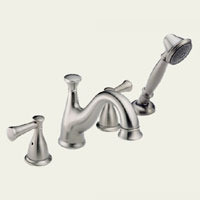 Delta Lockwood T4740-SSLHP Two Handle Roman Tub Faucet Trim With Hand Shower - Stainless