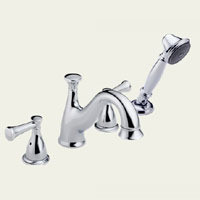Delta Lockwood T4740-LHP Two Handle Roman Tub Faucet Trim With Hand Shower -  Chrome