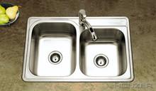 Houzer ISL-3322BS1-1 33'' x 22'' x 8'' Kitchen Sink Double Bowl - 1 Hole - Stainless  Steel