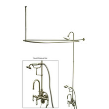 "Kingston Brass Clawfoot Tub High Rise Faucet & Handshower with Shower Riser, Shower Head, Curtain Rod, Drain, & 22"" Supply Lines - Satin Nickel"