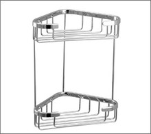 Aquabrass 2065PC Two Tier Triangle Shower / Tub Basket - Chrome