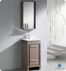 "Fresca Allier FVN8118GO 16"" Small Modern Bathroom Vanity Cabinet w/ Mirror - Gray Oak"