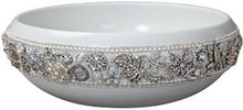Linkasink PSC07 W Shyra Jeweled Porcelain Vessel Sink - White with Silver