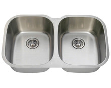 """Polaris P405-16 Equal Double Bowl Stainless Steel Undermount Kitchen Sink 34 3/4"""" W x 20 3/4"""" L - 16 Gauge - Brushed Satin"""