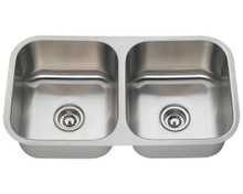 """Polaris PA205-16 Equal Double Bowl Stainless Steel Undermount Kitchen Sink 32 1/4"""" W x 18"""" L 16 Gauge - Brushed Satin"""