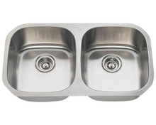 """Polaris P205-16 Equal Double Bowl Stainless Steel Undermount Kitchen Sink 32 1/4"""" W x 18"""" L - 16 Gauge - Brushed Satin"""