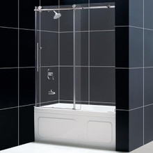 """DreamLine ENIGMA-X 56""""-59"""" x 62"""" Fully Frameless Tub Door - Polished Stainless Steel - SHDR-61606210"""