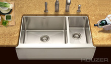 "Houzer Epicure END-3360SR Farmhouse 60/40 Double Bowl 33"" x 20"" Kitchen Sink - Stainless Steel"