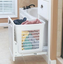 Richelieu 1520030 Large Under Counter Pull Out Laundry Basket with Frame - White