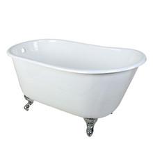 "Kingston Brass 53"" Cast Iron Slipper Clawfoot Bathtub & w/o Faucet Drillings - White With Chrome Tub Feet"