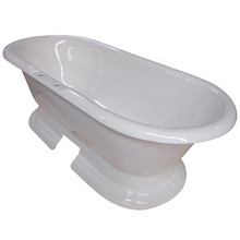 """Kingston Brass 72"""" Cast Iron Double Ended Pedestal Bathtub with 7"""" Centers Faucet Drillings - White"""