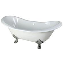 "Kingston Brass 72"" Cast Iron Double Slipper Clawfoot Bathtub & w/o Faucet Drillings - White With Chrome Tub Feet"