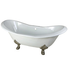 """Kingston Brass 72"""" Cast Iron Double Slipper Clawfoot Bathtub & 7"""" Centers Faucet Drillings - White With Satin Nickel Tub Feet"""