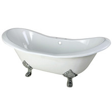 """Kingston Brass 72"""" Cast Iron Double Slipper Clawfoot Bathtub & 7"""" Centers Faucet Drillings - White With Chrome Tub Feet"""
