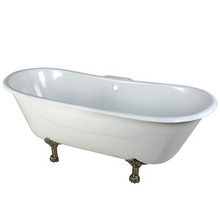 """Kingston Brass 67"""" Cast Iron Double Slipper Clawfoot Bathtub & 7"""" Centers Faucet Drillings - White With Satin Nickel Tub Feet"""