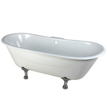 """Kingston Brass 67"""" Cast Iron Double Slipper Clawfoot Bathtub & 7"""" Centers Faucet Drillings - White With Chrome Tub Feet"""